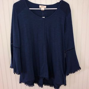 NWT Style & Co Navy Bell Sleeved Blouse